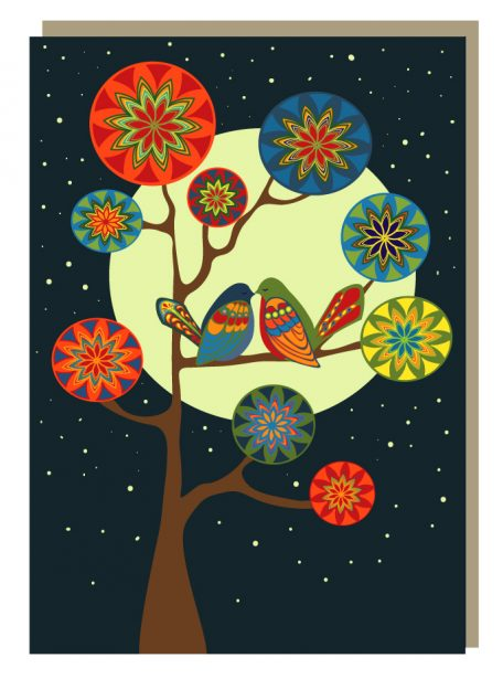 Lunar lovebirds greeting card