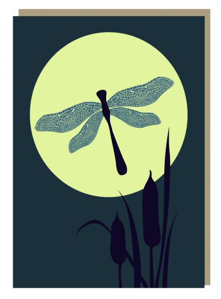 Dragonfly moon greeting card