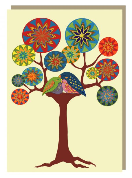 Bird family tree greeting card