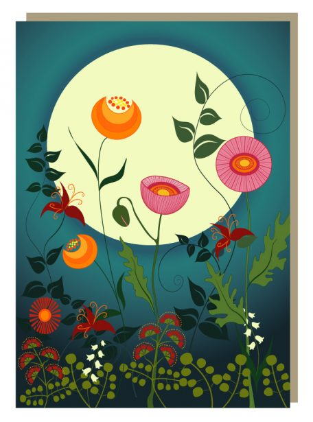 Lunar floral garden greeting card