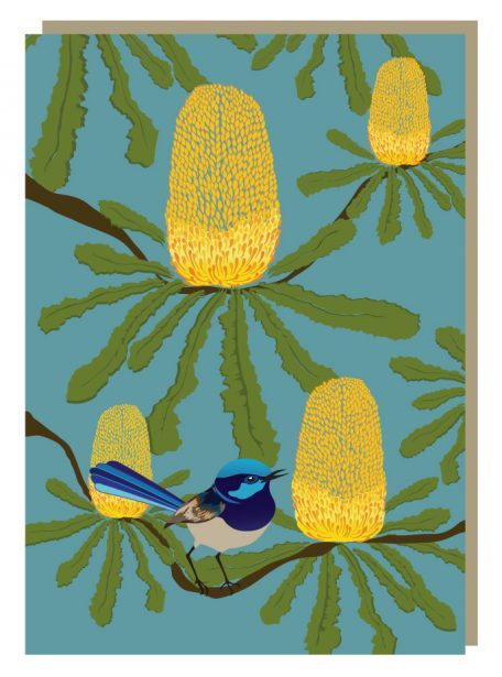 Banksia bower, fairy wren greeting card