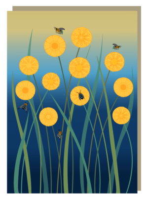 Billy Buttons & Blue-banded Bees Greeting Card